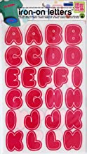 Dritz 15498 Iron-on Letters, Soft Flock, Bubble, 1-1/2-Inch, Neon Pink & White (2-Sheets)