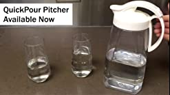 Amazon Com Quickpour Airtight Pitcher With Locking Spout Japanese Made For Water Coffee Tea Other Beverages 2 3 Quarts Clear With White Top Carafes Pitchers