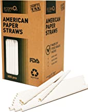 American 300-pack Biodegradable Paper Straws Bulk White Dye-Free Disposable Eco-Friendly Drinking Straws 7.75 - Made in USA (in Kraft Paper Box)
