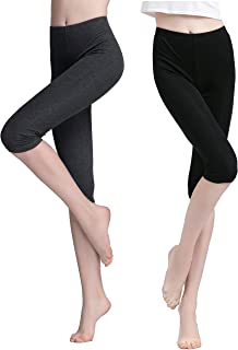 Vinconie Women Thin Cropped Leggings Capri Yoga Pants Under Dress Shorts