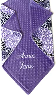 Personalized Baby Blanket or Lovey, Personalized Minky Baby Blanket, Purple Blooms Blanket