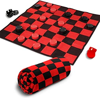 Giant Checkers Rug Set by Gamie - 34.5 x 34.5 Inch Jumbo Checker Board Floor Mat Game with Huge Pieces - Great Gift Idea for Boys and Girls, Fun Birthday Party Activity - Play Room Rug - Red and Black