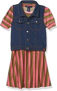 طقم فستان بأكمام قصيرة من قماش الدينيم وصدرية مطبوعة من ليميتد تو جيرلز