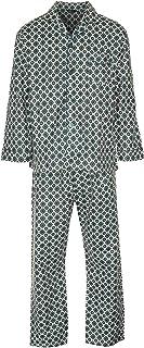 Mens Medalion Pattern Brushed Cotton Long Pyjama Set 4 Button Collared Boys Sleepwear Warm Night Dress Pyjama Top and Bott...