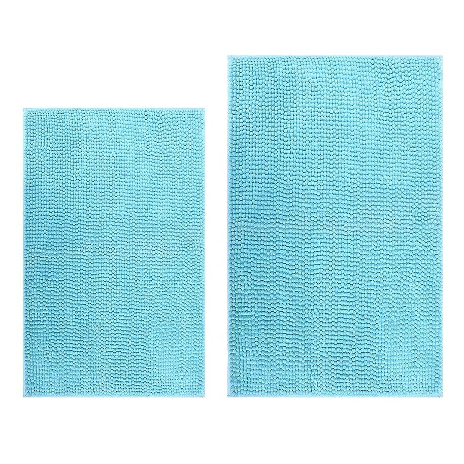 Hevice Non-Slip Bathroom Rug Shag Shower Mat Machine-Washable, Bath Mats Absorbent Chenille Bath Rugs for Bathroom Tub Shower Set of 2 31