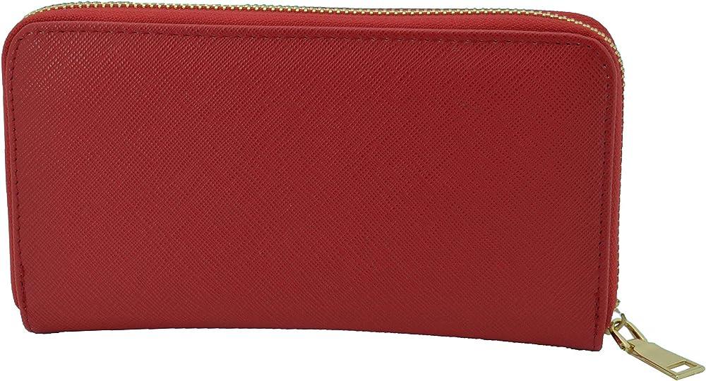 Gresel portafoglio per donna in similpelle porta carte di credito rosso