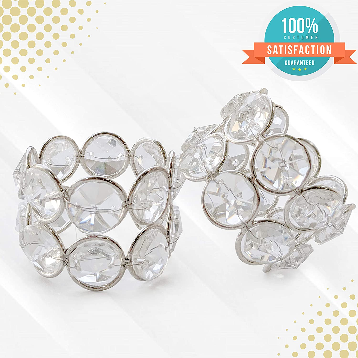 Christmas Dining Table Thanksgiving Wedding Reception Dinner Party Decoration 8 Pack Saaqi Crystal Silver Napkin Rings for Special Occasion Place Setting Holiday