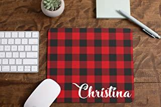 Personalized Name Mouse Pad Buffalo Red Plaid Mousepad Womens Desk Accessories Office Supplies Gift for Coworker A305