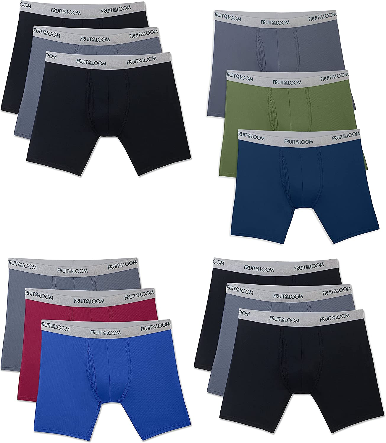 Fruit of the Loom Men's 12-Pack Everlight Boxer Briefs Breathable COLORS VARY