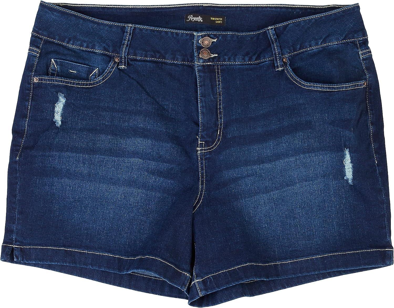 Royalty by YMI Plus Signature Slim Strech Denim Shorts 18W Dark wash