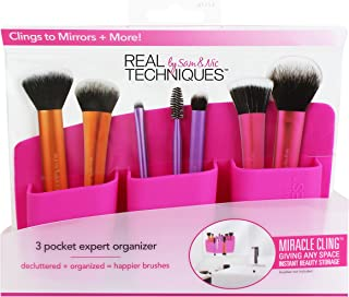Real Techniques-3-Pocket Expert Organizer, Pink-Makeup Brush Storage Container-For Easy Organization of Makeup Brushes