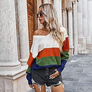 PKYGXZ Suéter clásico de Contraste de Rayas para Mujer Jerséis de otoño e Invierno Jersey de Punto con CableSudadera To...