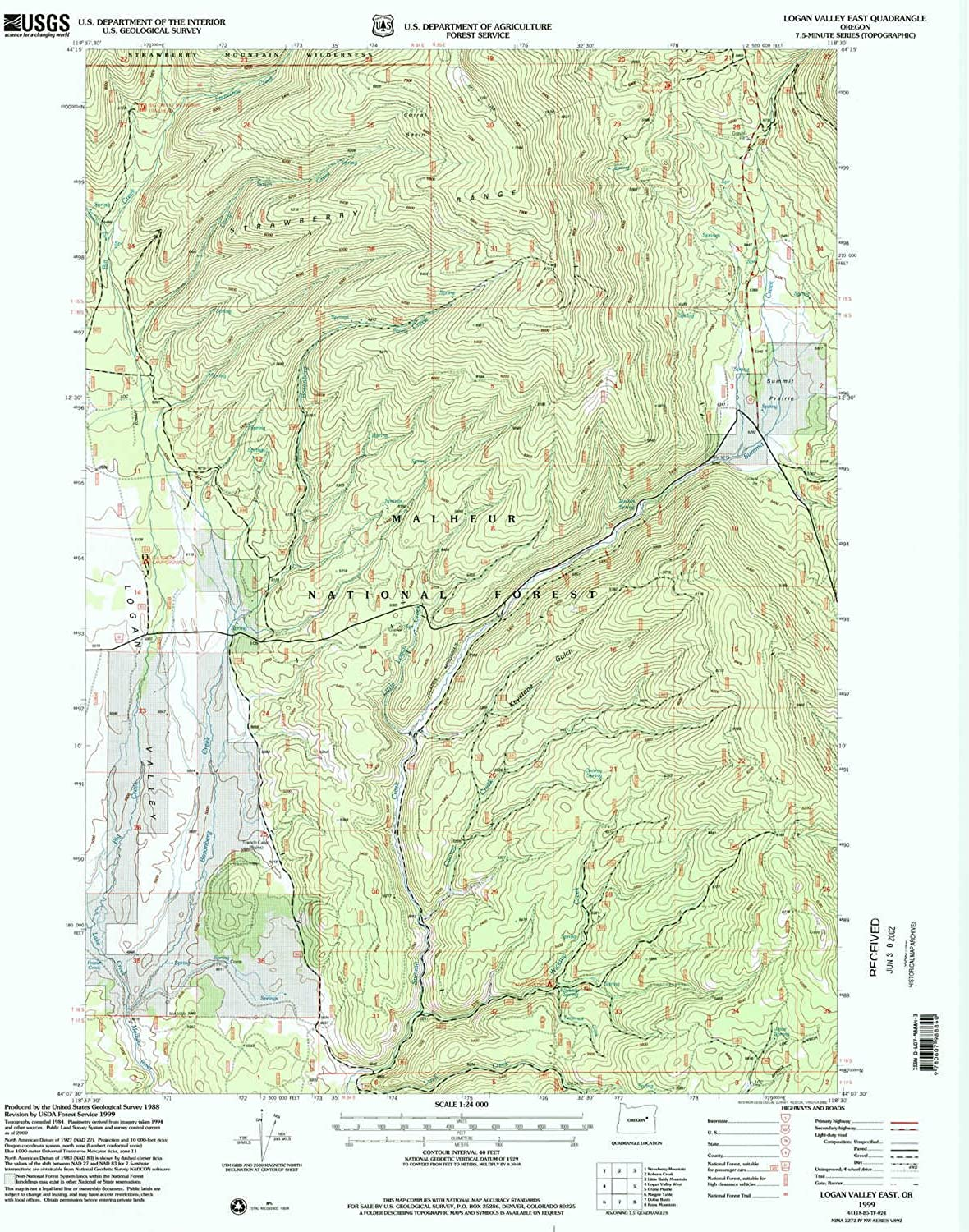 Logan Valley East OR topo map, 1 24000 Scale, 7.5 X 7.5 Minute, Historical, 1999, Updated 2002, 26.8 x 21.9 in