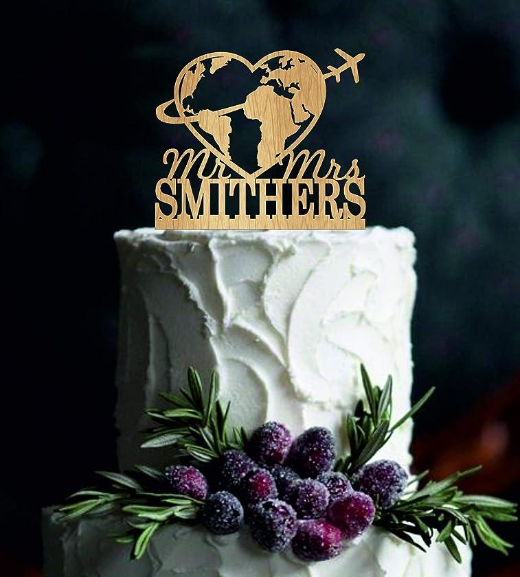 Travel themed Wedding Cake Topper Mr Mrs Cake Topper Last Name Cake Topper Personalized travelling Cake Topper Rustic Wedding Topper