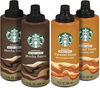 Starbucks Naturally Flavored Sauce Variety Pack, 2 Caramel and 2 Mocha (4 Bottles Total)