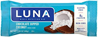 LUNA BAR - Gluten Free Bars - Chocolate Dipped Coconut Flavor - (1.69 Ounce Snack Bars, 15 Count)