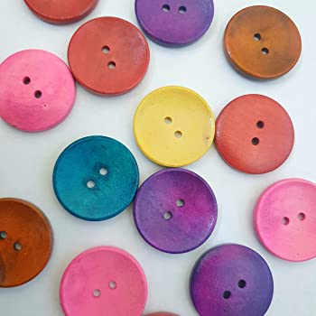 MajorCrafts® 14pcs 30mm Mixed Colours 2 Holes Large Wood Sewing Buttons Craft Embellishments