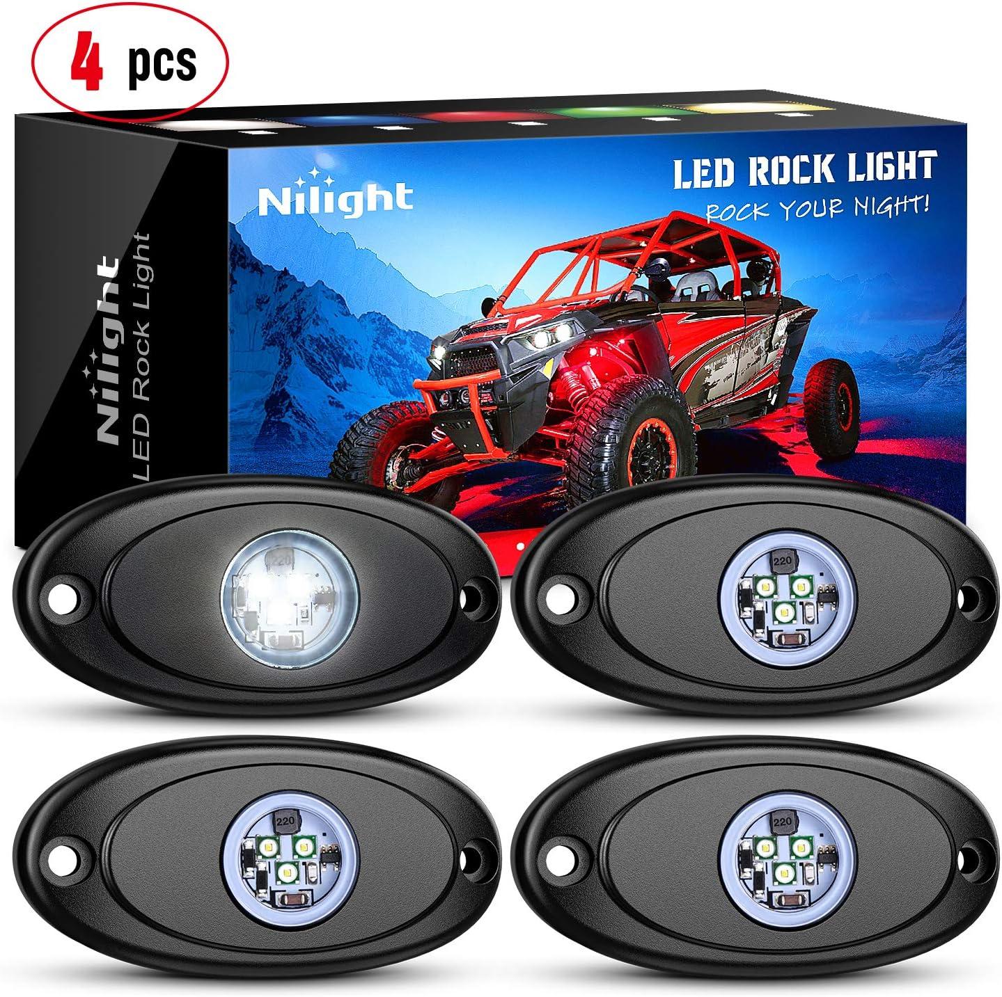 Nilight LED Rock Light 4PCS White Light Pods Waterproof Under Body Wheel Well Light Exterior Interior Lights for Car Truck Pickups ATV UTV SUV Motorcycle Boat, 2 Years Warranty