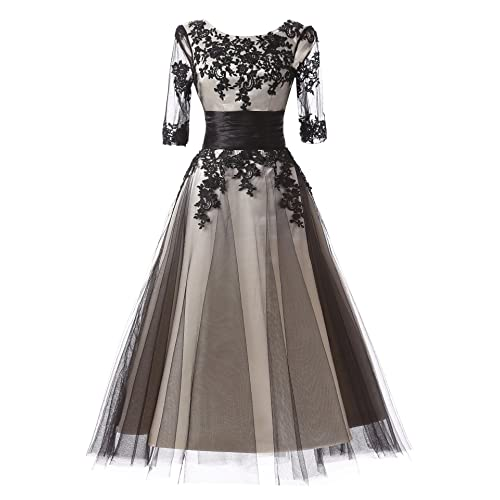 67d6a043a0c Fnina Women s Tea Length Mother of Bride Dresses with Sleeves Size 12 Gray