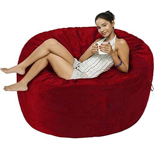 Amazon Basics Memory Foam Filled Bean Bag Chair with Microfiber Cover - 5', Red