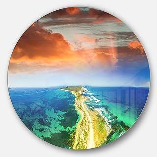 Designart Metal Artwork - Disc of 23, 23X23-Disc of 23 inch, Blue