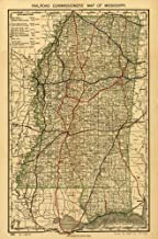 Vintage 1888 Map of Railroad commissioner's map of Mississippi. Shows drainage, cities and towns, township and county boundaries, and the railroad network with color coding. Mississippi, United States