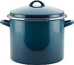 Rachael Ray Enamel on Steel Stock Pot/Stockpot with Lid, 12 Quart, Marine Blue