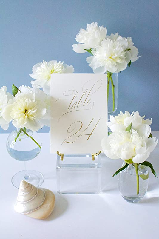 Weekend Paper Co Classic Gold Wedding Table Numbers Double Sided 5x7 Calligraphy Design Numbers 1 25