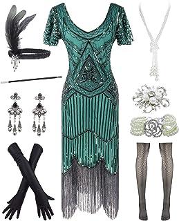 YENMILL 1920s Art Deco Fringed Sequin 20s Flapper Gatsby Costume Dress W/ 20s Accessories Set