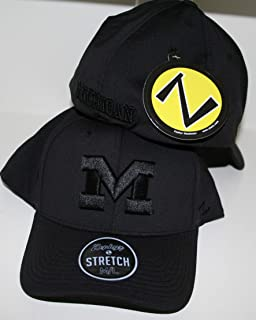 Zephyr University of Michigan Wolverines Top Volcanic Black/Grey Adult Mens/Womens/Youth Fitted Baseball Hat/Cap Size XL