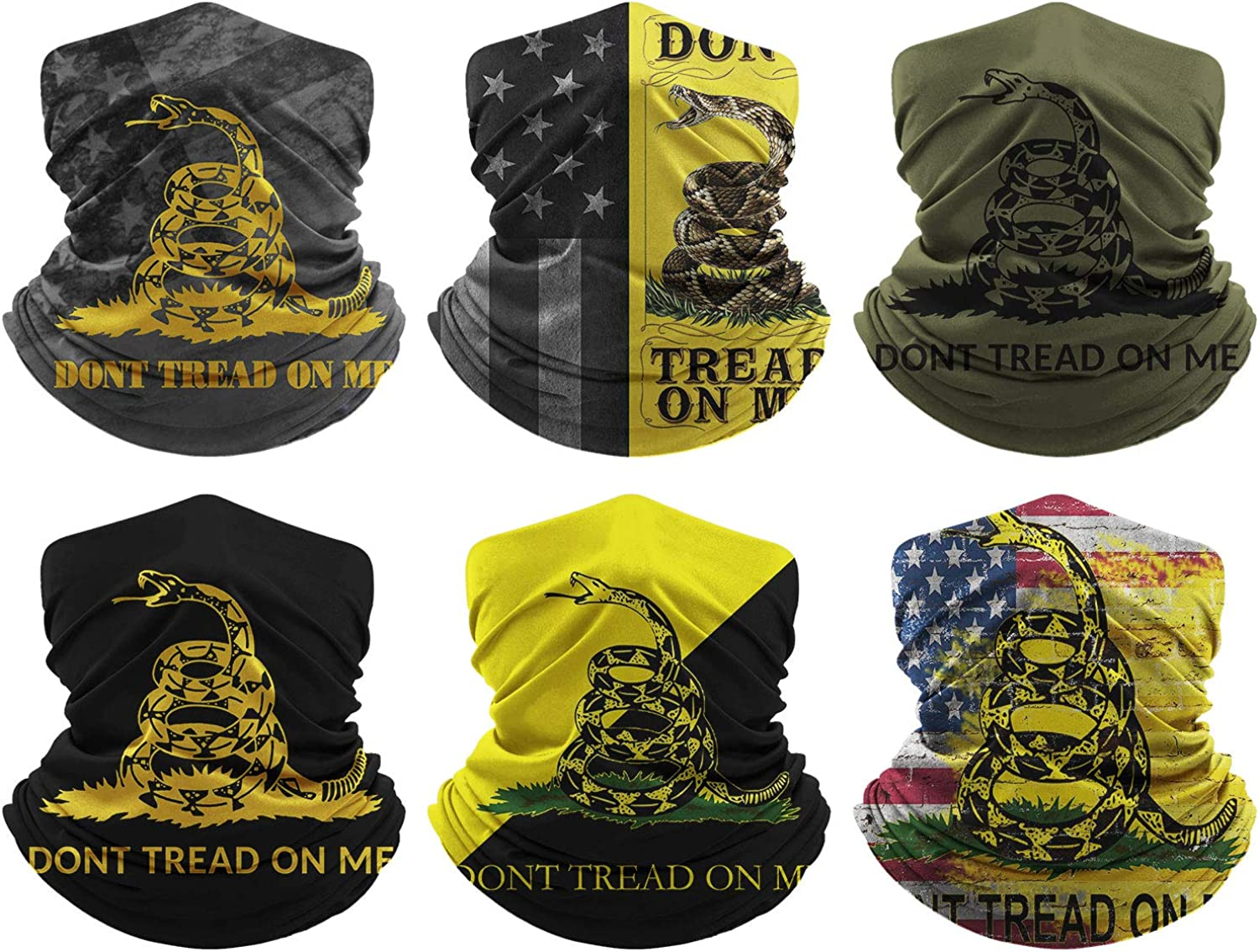 Don't Tread On Me Neck Gaiters Face Coverings for Outdoor Scarf Cool Masks Gators Windproof Balaclava for Women Men Breathable Bandanas Washable (6 Pack)