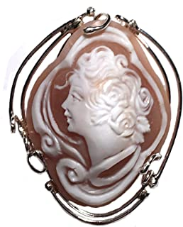 Cameo Brooch Pendant Enhancer Master Carved, Conch Shell Italian Sterling Silver Summer Dream