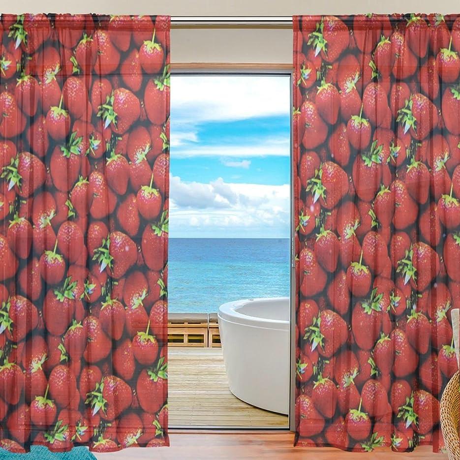 ミニチュア妨げる説得力のあるAOMOKI 窓カーテン 部屋 断熱カーテン 半遮光 ドアカーテン 洗濯可能 2枚セット 約140x213cm いちご 赤 フルーツ グリンー レット