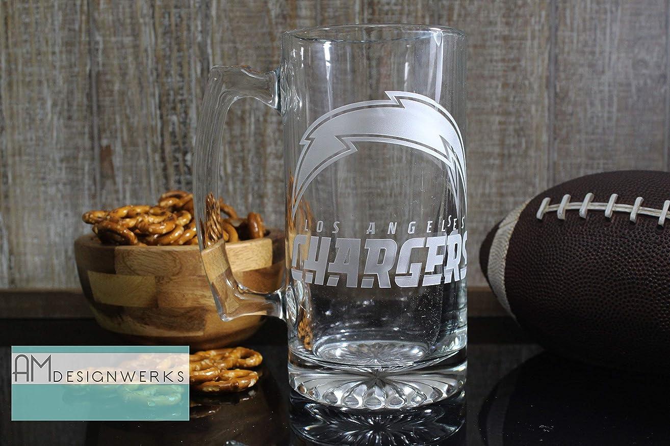 Los Angeles Chargers Jumbo 28.5oz Hand Etched Glass Beer Mug