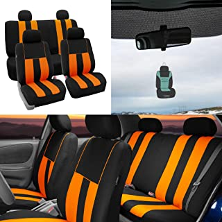 FH Group Striking Striped Seat Covers Airbag & Split Ready w. Free Air Freshener, Orange/Black Color- Fit Most Car, Truck, SUV, or Van