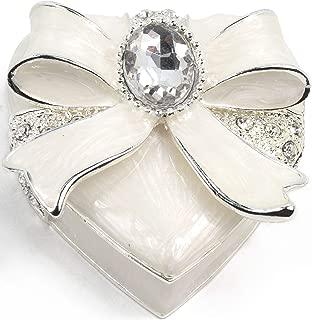 VI N VI White Ribbon Heart Jewelry Box with Big Silver Rhinestone Jewel