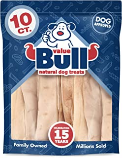 ValueBull Beef Cheek Slices, Premium Thick 12 Inch, 10 Count - Angus Beef Dog Chews, Grass-Fed, Single Ingredient