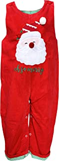 Angeline Baby Toddler Boys Christmas Holiday So Merry Santa Corduroy Longall Romper
