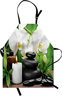Ambesonne Spa Apron, Hot Massage Stones with Orchid Candles and Magnificent Nature Remedies, Unisex Kitchen Bib with Adjustable Neck for Cooking Gardening, Adult Size, White Black