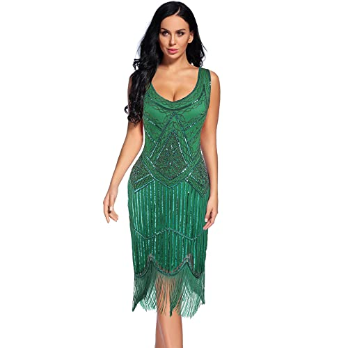 e4a63de62dd1 Flapper Girl Women's Vintage 1920s Sequin Beaded Tassels Hem Flapper Dress