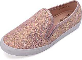 Mila Lady Cornelia Comfortable Casual Sparkly Glitter Slip On Fashion Sneakers for Women Gold Size: 11