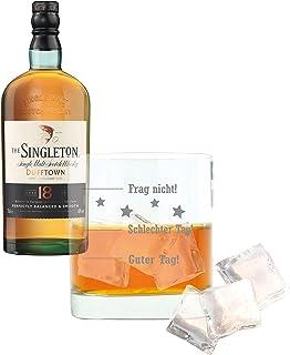 Whiskey 2er Set, Singleton Of Dufftown 18 Years / Jahre, Malt, Whisky, Scotch, Alkohol, Alkoholgetränk, Flasche, 40%, 700 ml, 661597, Geschenk zum Vatertag, mit graviertem Glas
