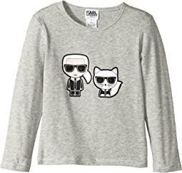 Karl Lagerfeld Kids - Long Sleeve Tee with Karl/Choupette Graphic (Toddler)
