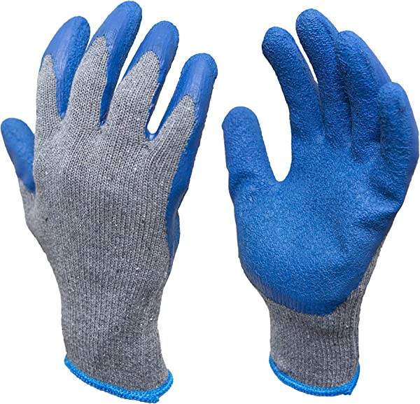 G F 3100L 10 Rubber Latex Coated Work Gloves For Construction Blue Crinkle Pattern Men S Large 120 Pairs