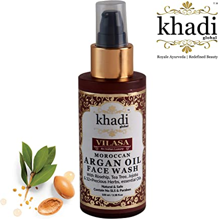 Khadi Global Vilasa Moroccan Argan Oil Face Wash with Rosehip, Tea Tree, Jojoba & 32+ Precious Herbs & Essential Oils Skin Brightening & Tightening Face Wash, Gentle Face Wash, 100% SLS & Paraben Free