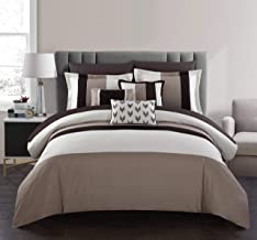 Chic Home Ayelet 10 Piece Comforter Set Color Block Ruffled Bag Bedding-Decorative Pillows Shams Included, King, Beige