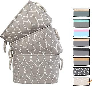 3 Pack Large Storage Shelf Basket Set Big Rectangular Linens Fabric Collapsible Organizer Bin (Pattern)