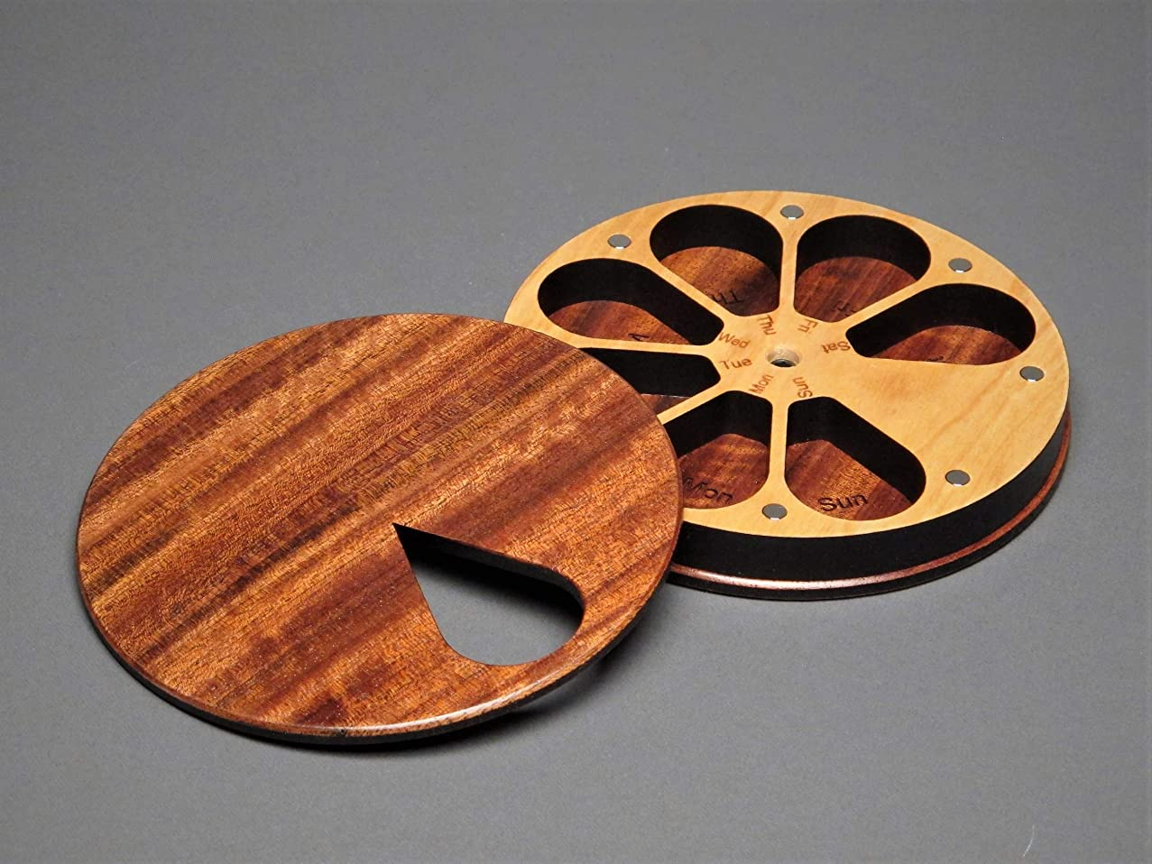 7 Day Weekly Pill Case, Figured Etimoe Wood