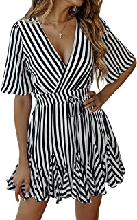 ECOWISH Women's Dresses Striped Wrap V Neck Ruffle Hem Short Sleeve Pleated Mini Skater Dress