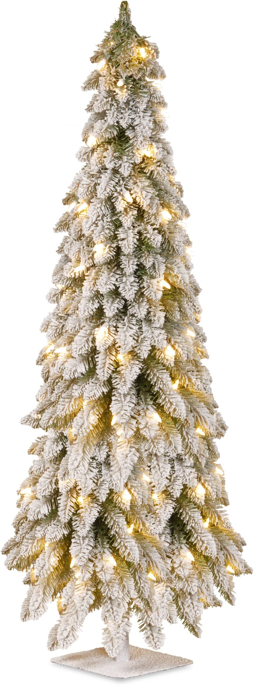 National Tree 60 Inch Snowy Downswept Forestree With 200 Clear Lights On A Metal Plate Stand Ftdf1 60alo Home Kitchen